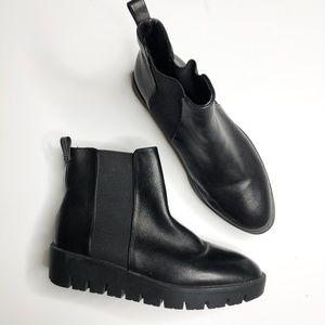 Aldo Black Leather Platform Ankle Boot